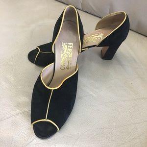 Ferragamo black peep toe pumps
